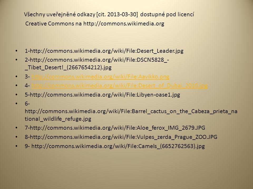 Všechny uveřejněné odkazy [cit. 2013-03-30] dostupné pod licencí